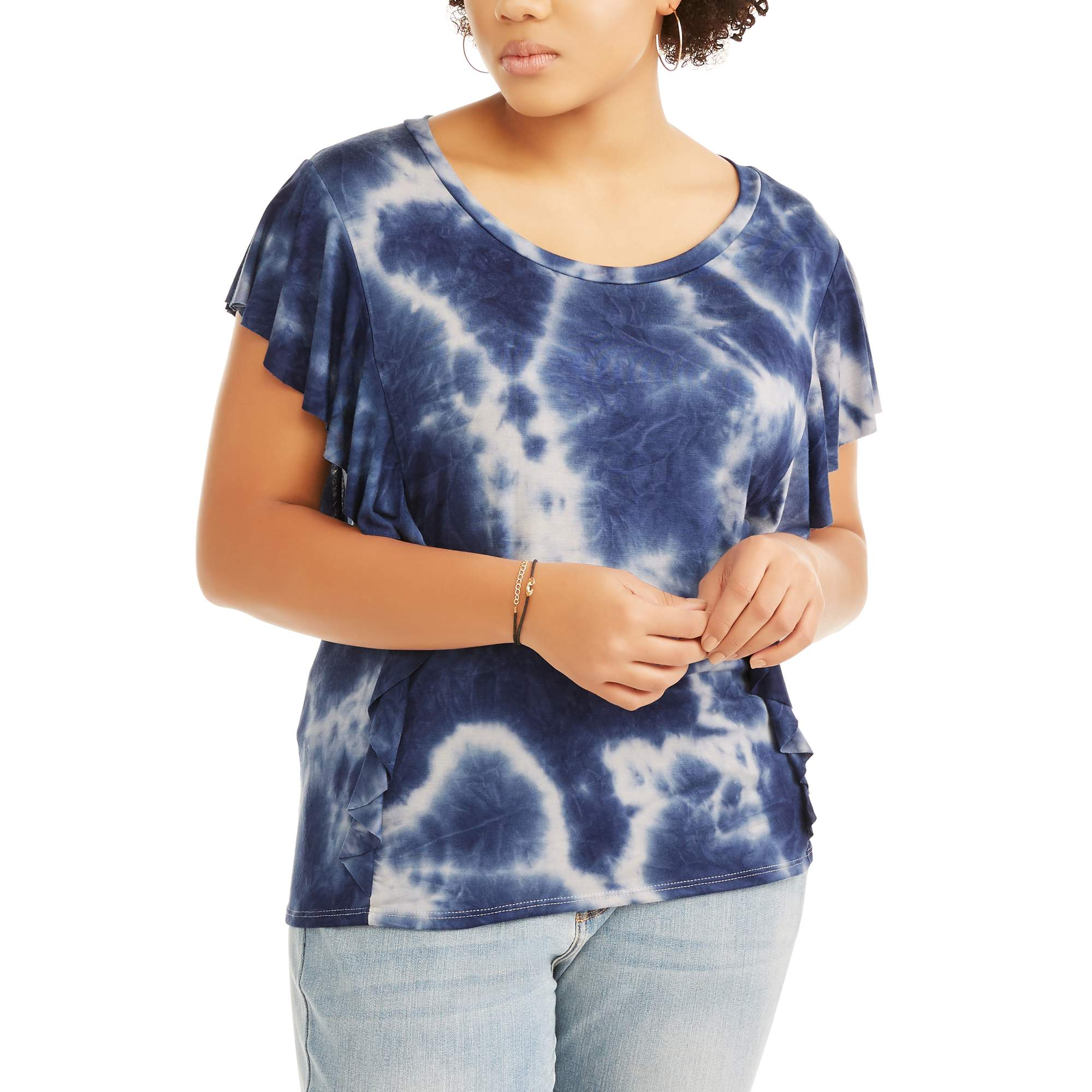 Juniors' Plus Short Sleeve Ruffle Tie Dye Top