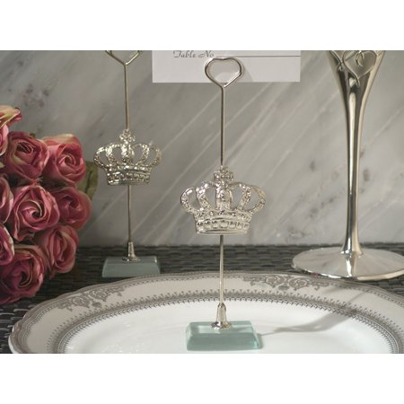 Contemporary Place Card Holders - Silver Royal Crown place card holder