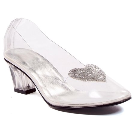 Womens Sexy Clear Shoes Heeled Pump Slipper With Silver Glitter Heart Princess - Princess Heel Shoes
