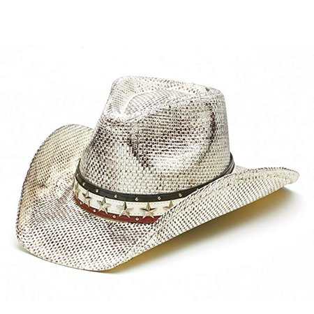 51fa58244 Vintage Classic Distressed White USA Stars and Stripes Cowboy Hat