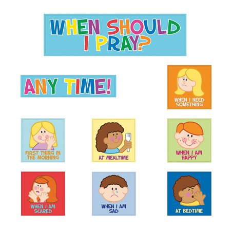Fun Express - Bulletin Board Cutouts - Kids Pray - Educational - Classroom Decorations - Bulletin Board Decor - 9 Pieces
