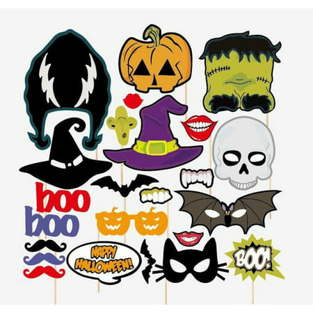 24-Piece Photo Booth Props Party Favor for Hallowmas Party with Skull Bat](Stage Props For Sale)