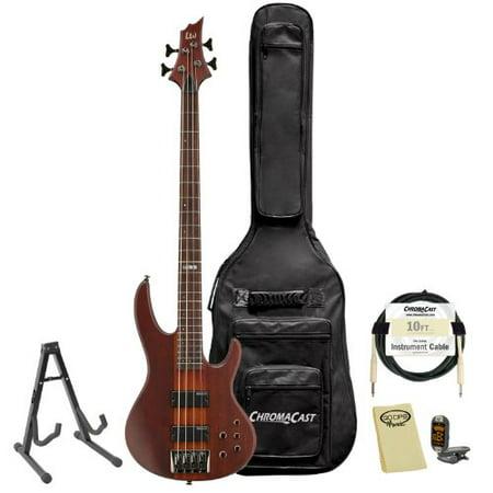 ESP LTD D-4-NS Natural Satin 4-String Electric Bass w/ Accessories & Gig - Classic Electric Bass Natural