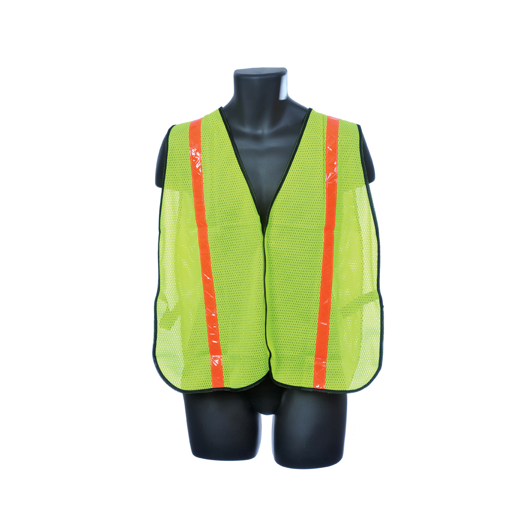 Safety Mesh Vest - Green w/ Orange Reflector Stripes Lot of 1 Pack(s) of 1 Unit