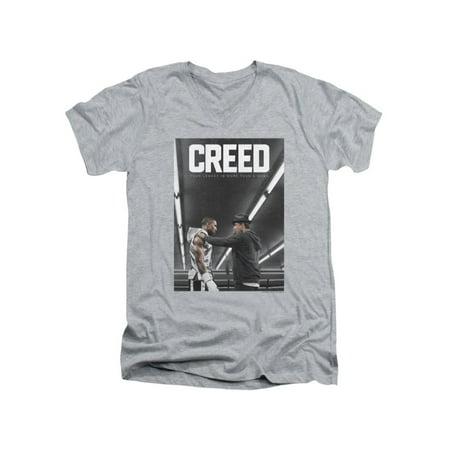 - Creed Drama Boxing Sports Movie Grey Gym Poster Shot Adult V-Neck T-Shirt