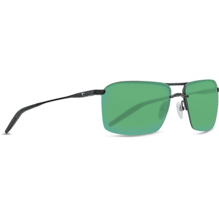 Light Mirror Lenses (Costa Del Mar Skimmer Sunglasses, Matte Black, Green 580P Mirror Lens )