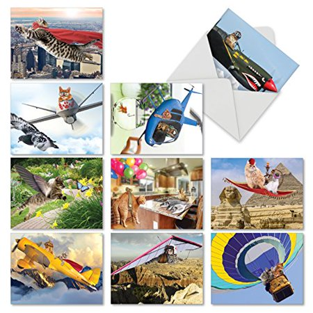 'M6450TYG FLYING FELINES' 10 Assorted Thank You Greeting Cards Featuring Cute and Adorable Kitties Engaged in Fanciful Flying Antics with Envelopes by The Best Card Company - Fanciful Gifts