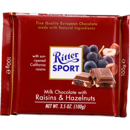 Ritter Sport Milk Chocolate Bar Rasins & Hazelnuts, 3.5 Oz (Pack Of 12)