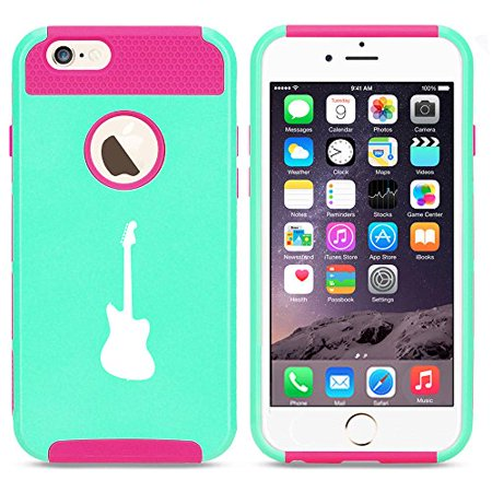 For Apple Iphone 7 Shockproof Impact Hard Soft Case Cover Bass Guitar  Light Blue Hot Pink