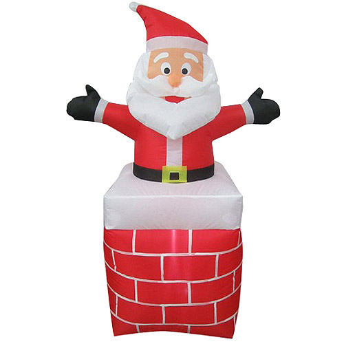 3.5'H Small Airblown Inflatable Outdoor Santa Out of Chimney