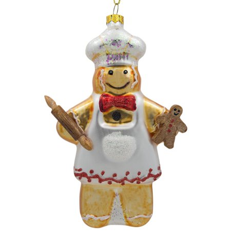 Joan Baker Painted Glass (Gingerbread Man Baker Glass Christmas Ornament 5.5 Inches)