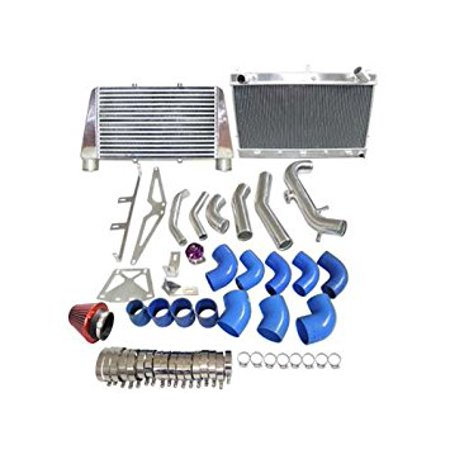 CXRacing Intercooler + Radiator + Turbo Intake Filter BOV Kit For Z31 300ZX  VG30ET V-Mount