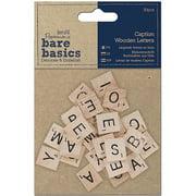 Papermania Bare Basics Wooden Letters, 30pk, Caption