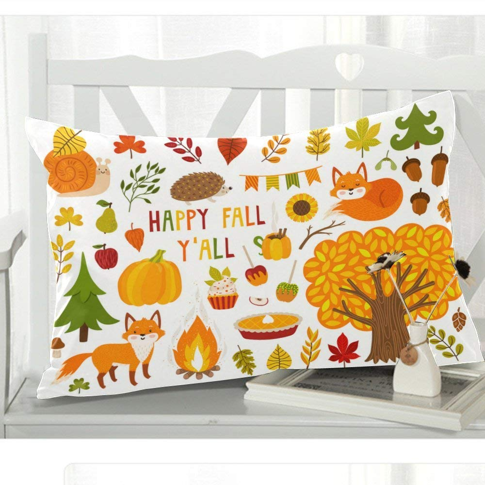 GCKG Happy Fall Season Harvest Festival or Thanksgiving Day Pillow Cover Case 20x30 inches,Cute Autumn Cartoon Character Plant and Food Pillow Case for - image 2 de 3