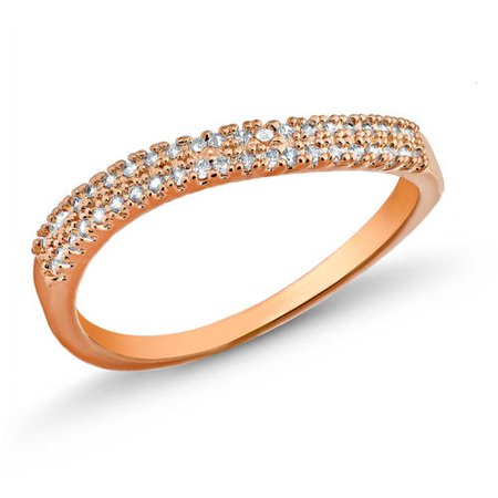 18kt. Rose Gold Plated Brass 1.4mm Round-Cut 2 Row Wave CZ Band Ring Brass Gold Plated Ring