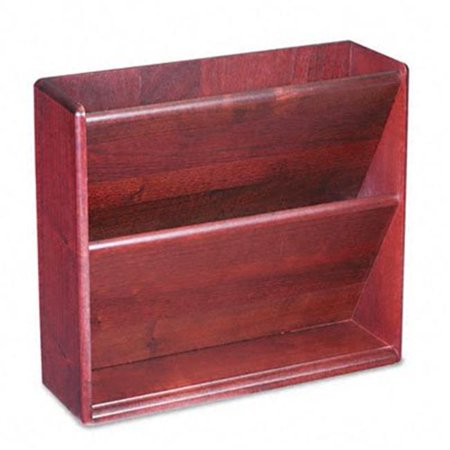 - Hardwood Double Wall File- Letter- 2 Pocket- Mahogany
