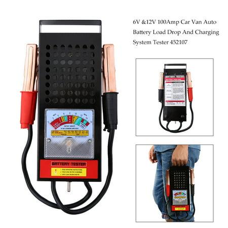 Zerone Battery Tester, 6V-12V 100Amp Car Van Auto Battery Tester Load Drop Charging System Analyzer Checker Tool (Car Battery Checker)