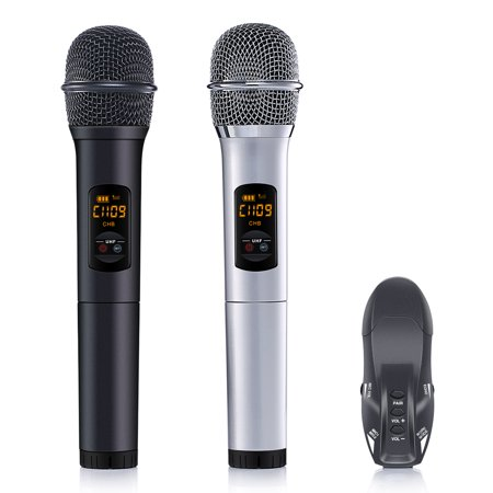 2 Pack Wireless Microphone Set, 10 Channel UHF Handheld HiFi Wireless Microphones Karaoke Receiver Dynamic Microphones for Wedding Speech Conference Karaoke Party (Wireless Video Conferencing)