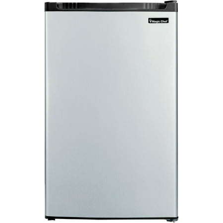 Magic Chef 4.4 Cu Ft Refrigerator with Freezer MCBR440S2, (Spt 2-4 Cu Ft Compact Refrigerator Stainless Steel)