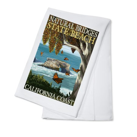 Natural Bridges State Beach, California Coast - Lantern Press Artwork (100% Cotton Kitchen Towel)