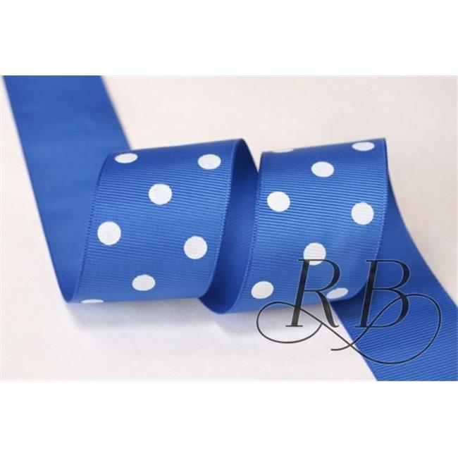 Ribbon Bazaar 921 0.88 in. Grosgrain Polka Dots Ribbon, Royal Blue - 25 Yards