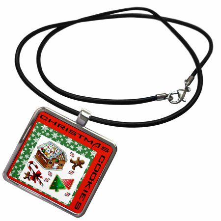3dRose Christmas Gingerbread House and Cookies - Necklace with Pendant (ncl_253206_1)
