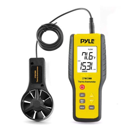 Upgraded Version Pyle Digital Anemometer Handheld, Thermometer, Wind Speed Meter for Measuring Air Velocity, Air Flow, Temperature Using Display Units: Miles, Kilometers, Meters, Feet, Knots (Wind Speed Meter)