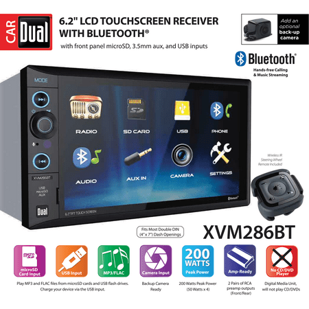 Two Care Package - Dual Electronics XVM286BT 6.2 inch LED Backlit LCD Multimedia Touch Screen Double DIN Car Stereo with Built-In Bluetooth, USB/microSD Ports & Steering Wheel Remote Control