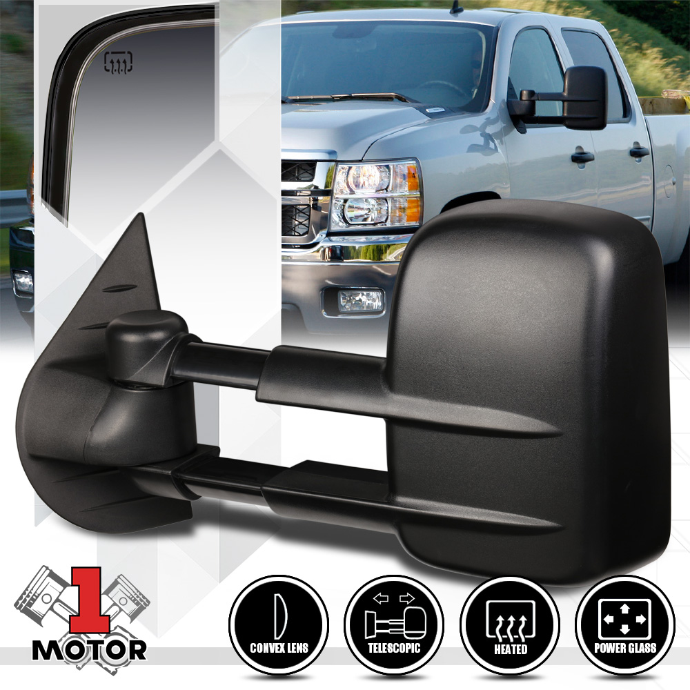 Left Driver Side Power+Heated Extendable Towing Mirror for 07-14 Sierra//Yukon
