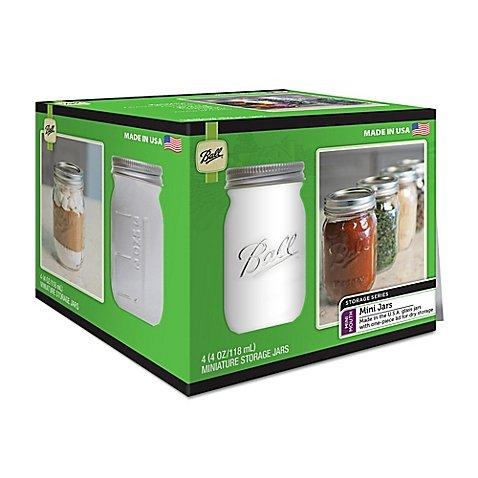 Glass Mini Storage Jars (Set of 4), Ship from USA,Brand Ball by