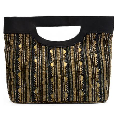 WCM Black Genuine Leather Gold Tone Bronze Hand Beaded Striped Design Tote Purse - Beaded Purse Designs