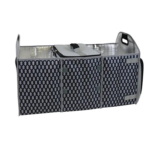 Trunk Organizer with Insulated Cooler, Gray Chain Pattern