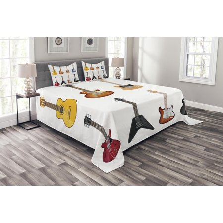 Guitar Bedspread Set, A Wide Variety of String Instruments Realistic Musical Pattern Jazz Blues Acoustic, Decorative Quilted Coverlet Set with Pillow Shams Included, Multicolor, by Ambesonne (Gibson Acoustic Blues King)