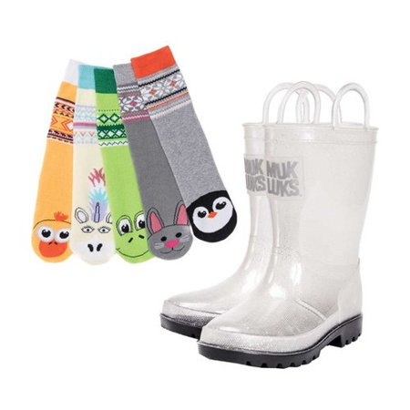 Children's MUK LUKS Molly Rain Boot with 5 Pack Socks (Male Ski Boots)