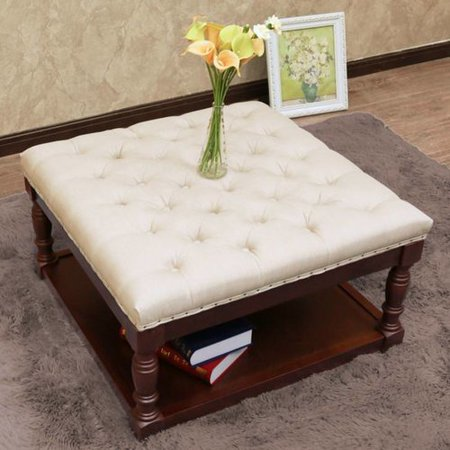 Awesome Cairona Fabric 30 Inch Tufted Shelved Ottoman Multiple Colors Machost Co Dining Chair Design Ideas Machostcouk