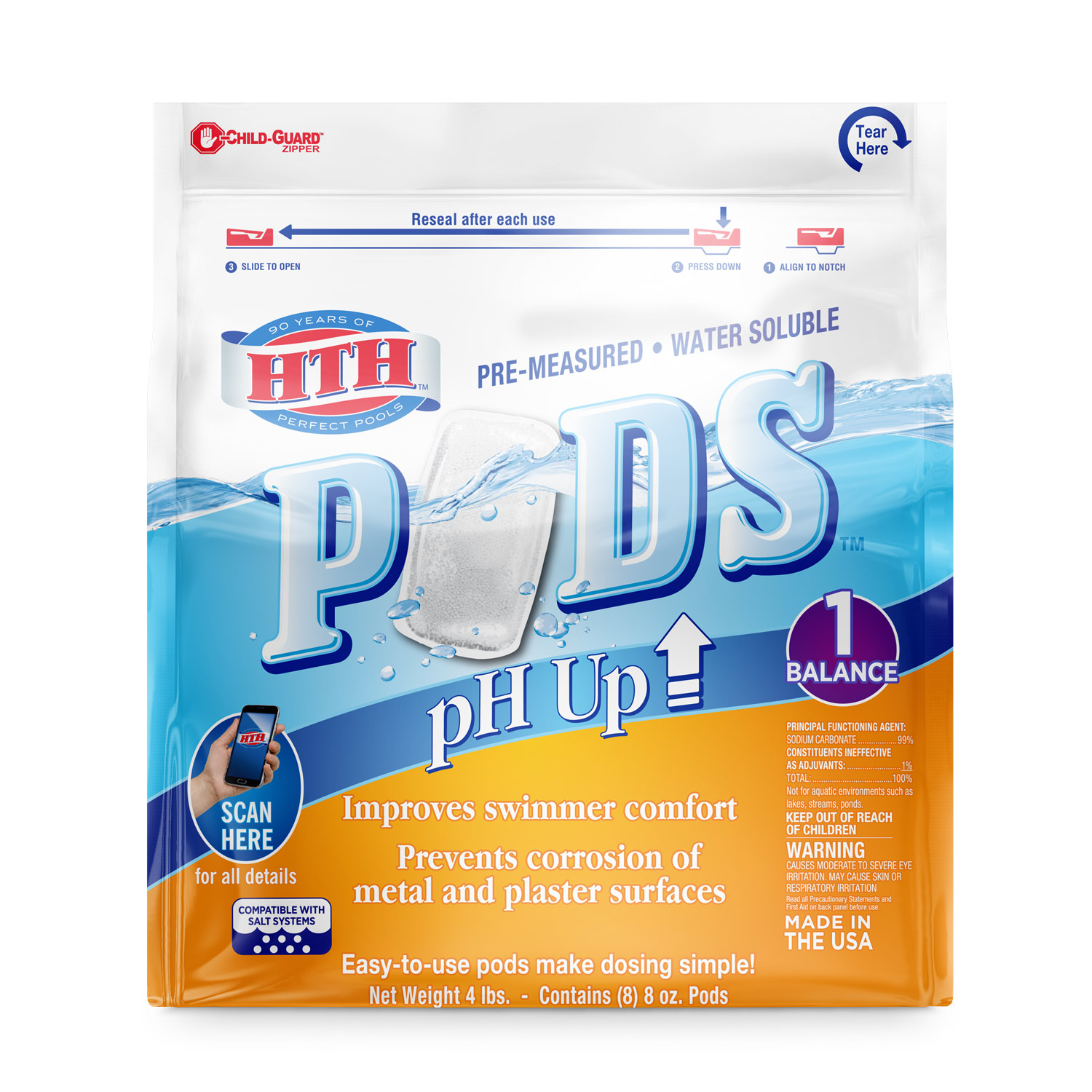 HTH Pre-measured Water Soluble Pods pH Up, 4lbs