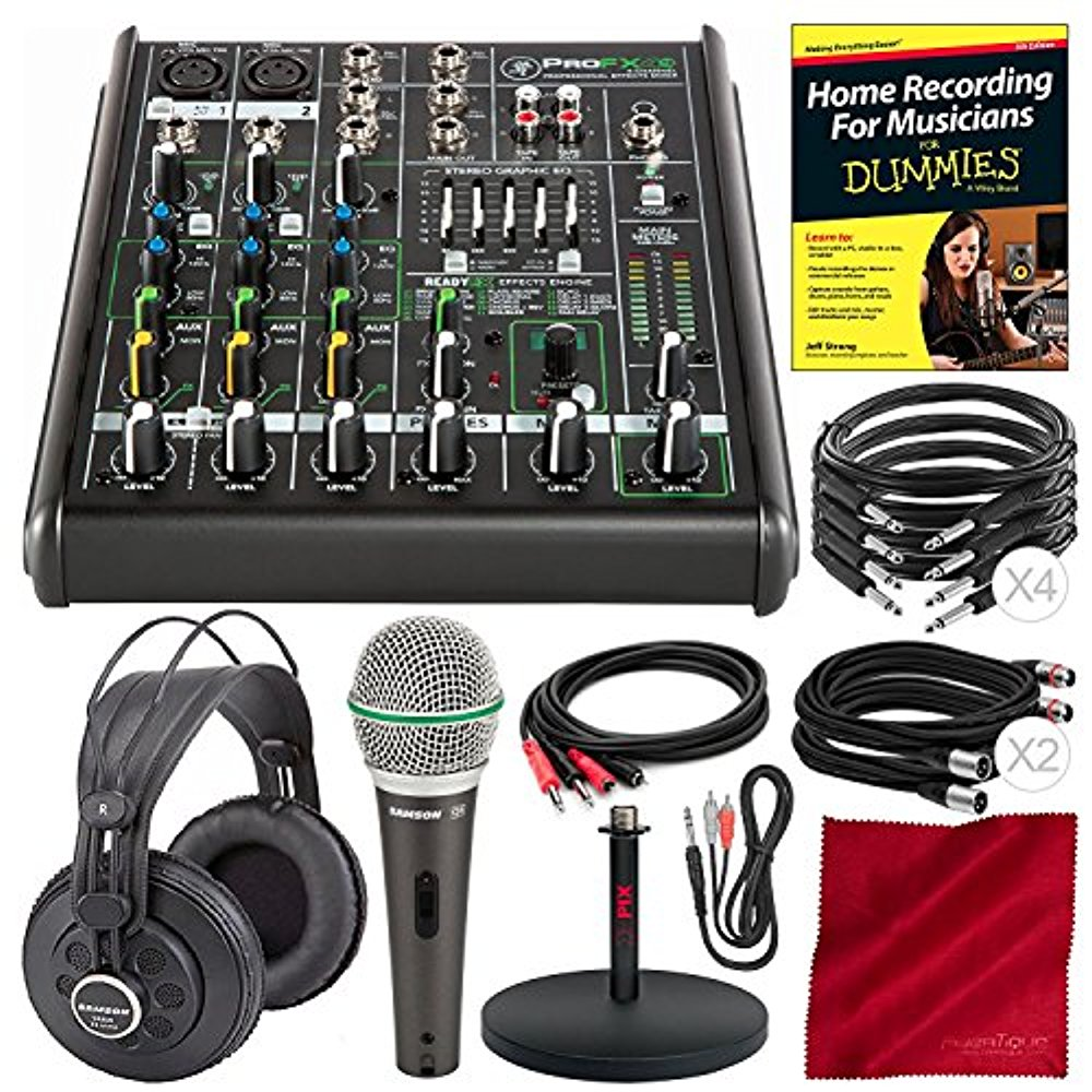 Mackie PROFX4V2 4-Channel Compact Mixer with Built-In Effects and Platinum Bundle with Professional Headphones, Microphone, Mic Stand, Home Recording for Dummies, 8x Cables, More