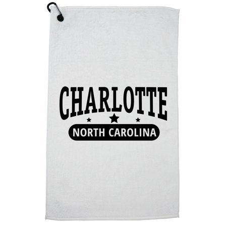 Trendy Charlotte, North Carolina with Stars Golf Towel with Carabiner Clip