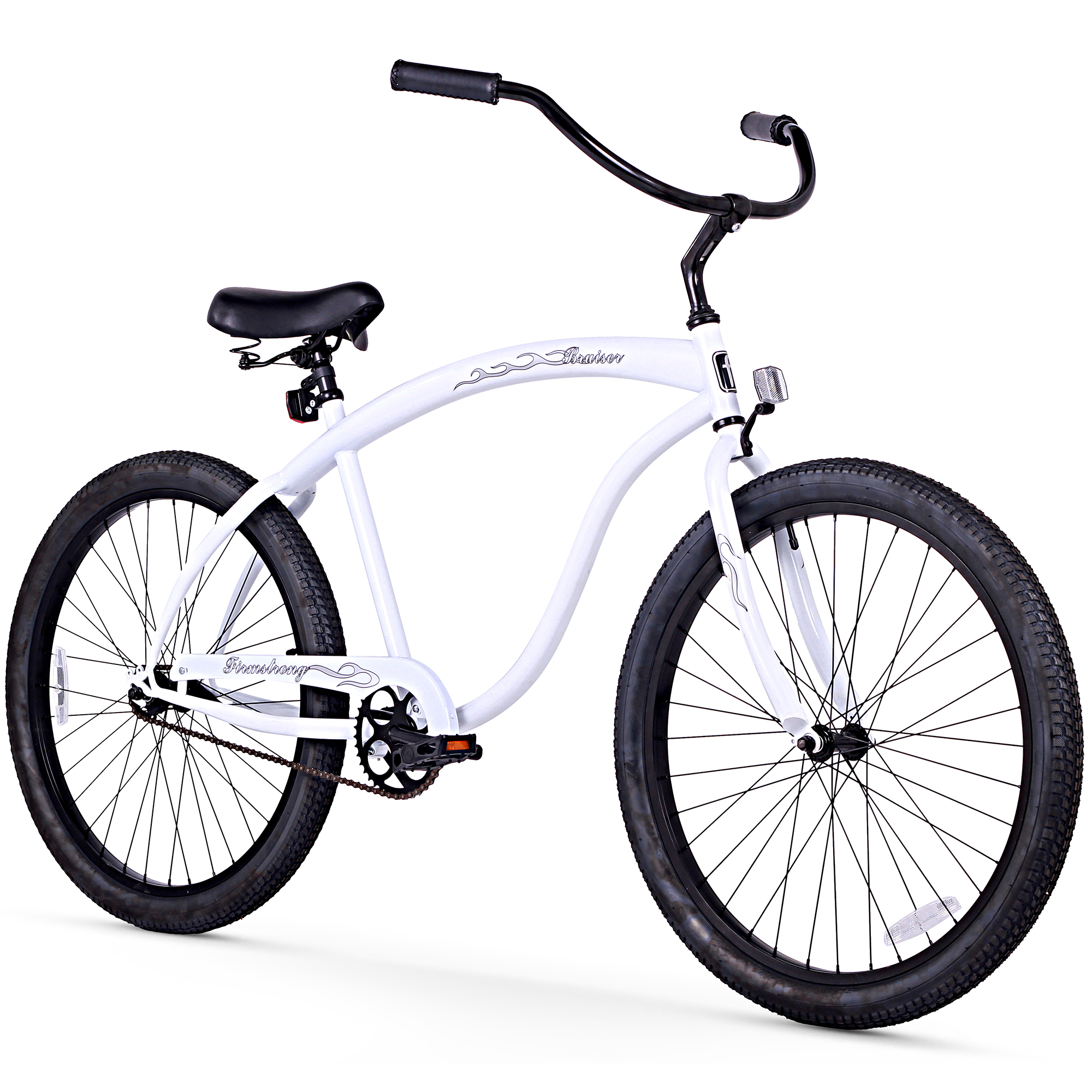 silver beach black single men Firmstrong urban man alloy single speed beach cruiser bicycle, 26-inch,  matte black  all silver shown and silver with black fork and chain guard  delivered.