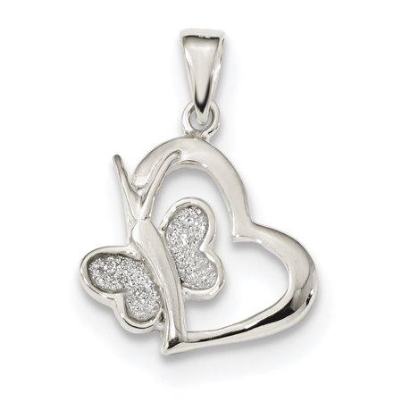 925 Sterling Silver Glitter Enamel Heart Butterfly Pendant Charm Necklace Animal Love Gifts For Women For Her
