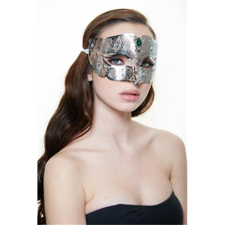 Silver with Green Rhinestones Luxury Roman Guard Filigree Laser Cut Metal Mask - One Size