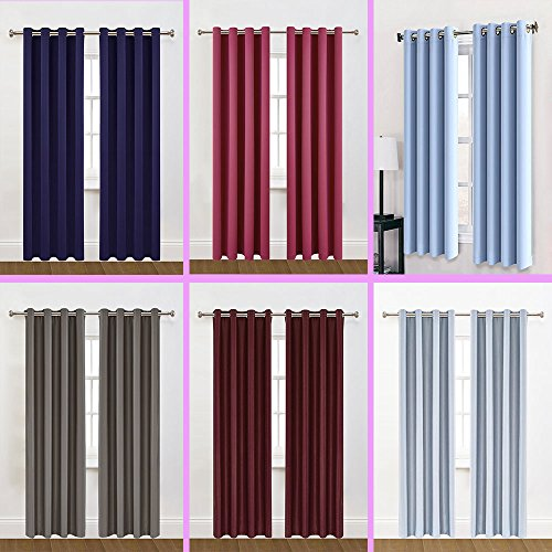Click here to buy 2 Panels 63 inch Long Sewing Grommets Blackout Curtains Thermal Insulated Window Treatment....