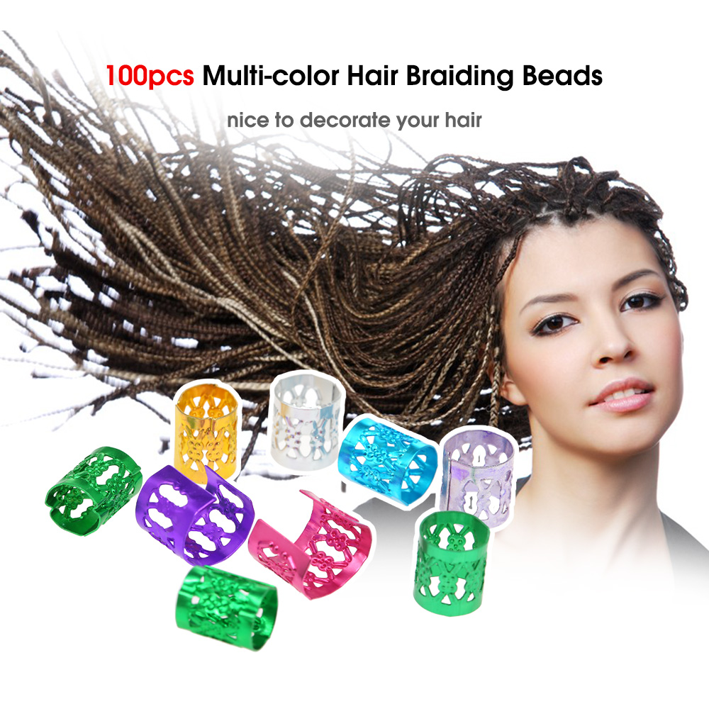 Hair Beads Rings Cuff Clips Aluminum Jewelry Strings for Braids Dreads J