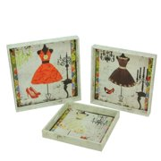 Northlight Set of 3 Vintage-Style Fashion and Dresses Square Wooden Serving Trays - White/Brown
