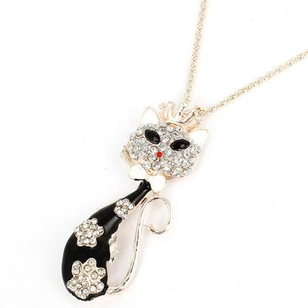 Black Cat Design Pendant Faceted Rhinestone Necklace Ornament Gold Tone for Lady - image 1 de 1