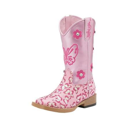 Pink Glitter Boots (Blazin Roxx 4441030-08.5 Pecos Glitter Zipper Cowgirl Boot Square Toe, Pink - Size)