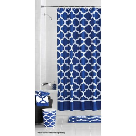 Mainstays fretwork shower curtain navy white for Navy and white bathroom accessories