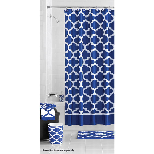 Mainstays Fretwork Shower Curtain, Navy/White