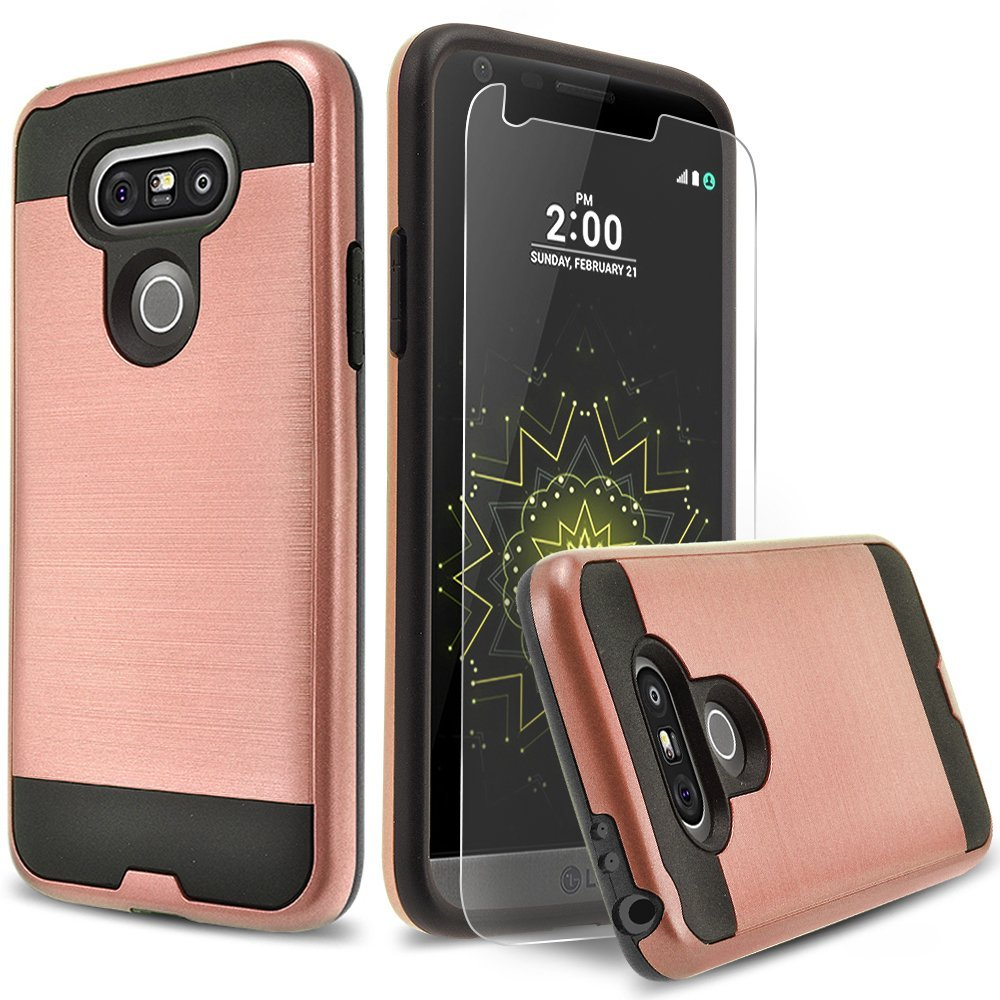 LG G5 Case, 2-Piece Style Hybrid Shockproof Hard Case Cover with [Premium Screen Protector] Hybird Shockproof And Circlemalls Stylus Pen (Rose Gold)