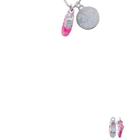 Silvertone 3-D Hot Pink Running Shoe Stronger Braver Smarter Engraved Necklace